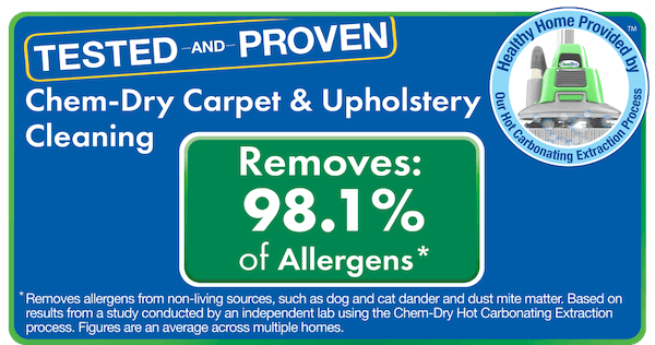 chem-dry removes 98% of allergens and 89% of bacteria